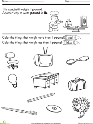 Third Grade Math Worksheets: Color and Estimate Pounds