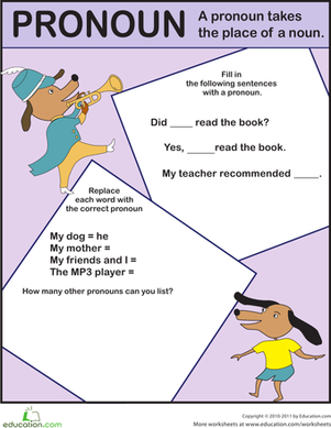 First Grade Reading & Writing Worksheets: Pronoun Exercise