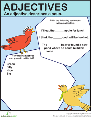 First Grade Reading & Writing Worksheets: Fill in the Adjective