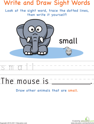 Kindergarten Reading & Writing Worksheets: Write and Draw Sight Words: Small
