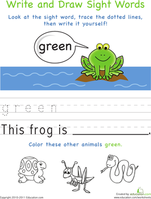 Kindergarten Reading & Writing Worksheets: Write and Draw Sight Words: Green