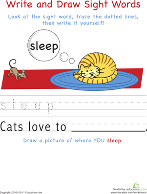 Kindergarten Reading & Writing Worksheets: Write and Draw Sight Words: Sleep
