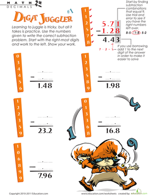 Fifth Grade Math Worksheets: Digit Juggler Decimal Subtraction #1