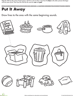Preschool Reading & Writing Worksheets: Beginning Sounds Match-Up: Put It Away
