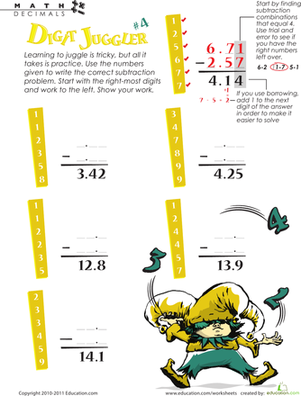 Fifth Grade Math Worksheets: Digit Juggler Decimal Subtraction #4