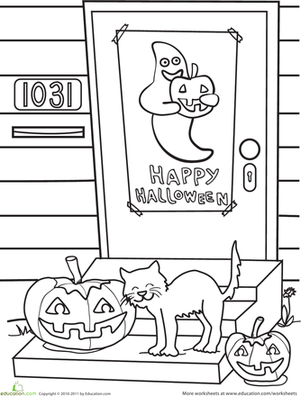 Kindergarten Holidays & Seasons Worksheets: Happy Halloween Cat