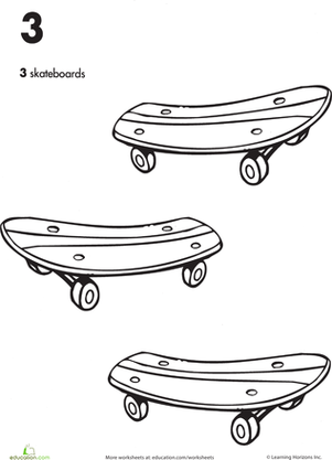 Preschool Coloring Worksheets: Trace the Number 3