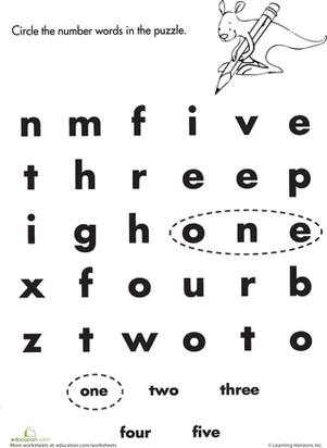Number Words: One to Five | Worksheet | Education.com