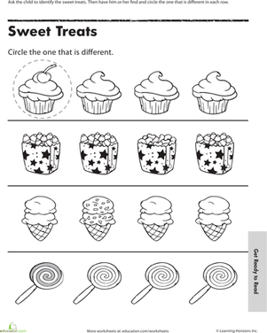 Preschool Math Worksheets: Find the One That's Different: Sweet Treats
