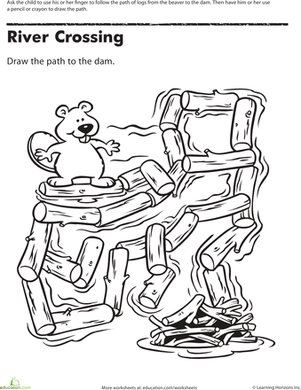 Preschool Offline Games Worksheets: Maze Mania: Crossing the River
