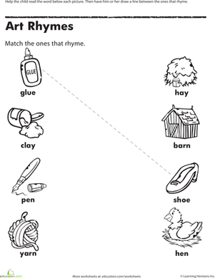 Kindergarten Reading & Writing Worksheets: Time to Rhyme: Art Rhymes
