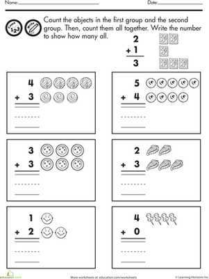 Kindergarten Math Worksheets: Count and Add #1