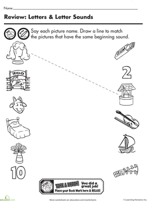 Kindergarten Reading & Writing Worksheets: Beginning Sounds Matching