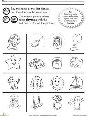 Kindergarten Reading & Writing Worksheets: Fun Rhymes: Circle and Color