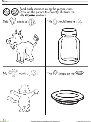 Kindergarten Reading & Writing Worksheets: Fun with Rhymes: Read and Draw