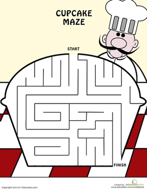 Kindergarten Offline Games Worksheets: Cupcake Maze