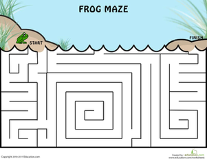 Kindergarten Offline Games Worksheets: Frog Maze