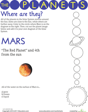 Third Grade Science Worksheets: Where Are the Planets?: Mars