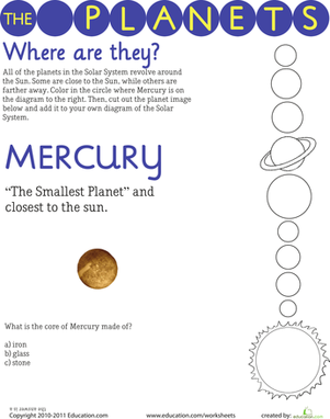 Third Grade Science Worksheets: Solar System: Mercury