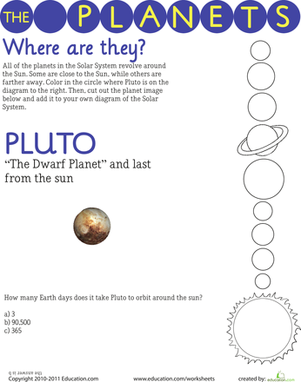 Third Grade Science Worksheets: Solar System: Pluto