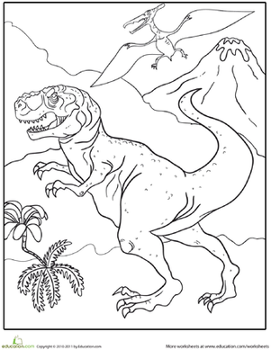 First Grade Coloring Worksheets: Color the Fierce Tyrannosaurus Rex