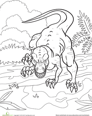 First Grade Coloring Worksheets: Angry Dinosaur Coloring Page