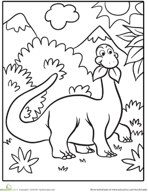 Kindergarten Coloring Worksheets: Cute Dinosaur Coloring Page