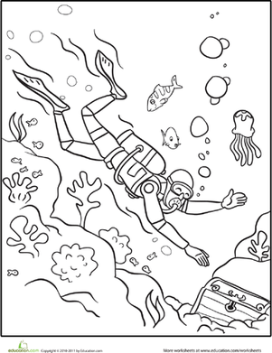 First Grade Coloring Worksheets: Scuba Diver Coloring Page