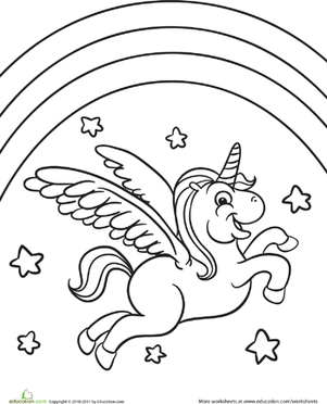 Color The Flying Unicorn Worksheet Education Com Rainbow Unicorn Coloring Pages