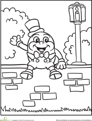 Preschool Coloring Worksheets: Humpty Dumpty Coloring Page