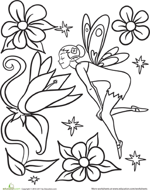 Preschool Coloring Worksheets: Flower Fairy Coloring Page