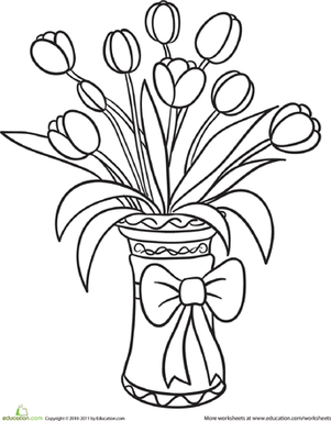 Kindergarten Coloring Worksheets: Tulip Bouquet Coloring Page