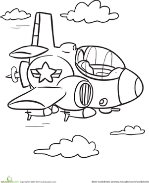Kindergarten Coloring Worksheets: Transportation Coloring Page: Plane