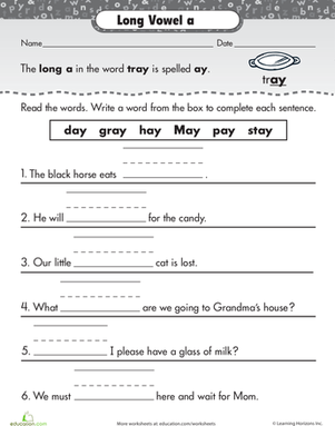 First Grade Reading & Writing Worksheets: Learning Long Vowels: Long A in Tray