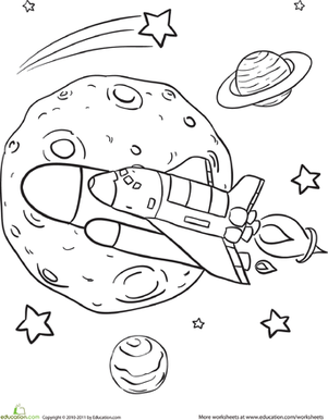 rocket coloring page - rad rocket ship worksheet