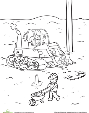 Kindergarten Coloring Worksheets: Construction Yard Coloring Page