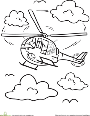 Kindergarten Coloring Worksheets: Helicopter Coloring Page