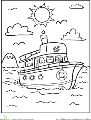 Kindergarten Coloring Worksheets: Boat Coloring Page