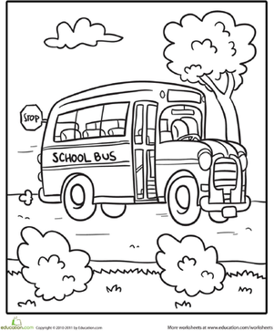 Kindergarten Holidays & Seasons Worksheets: Transportation Coloring Page: School Bus