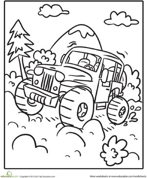 Kindergarten Coloring Worksheets: Transportation Coloring Page: Off-Road Vehicle