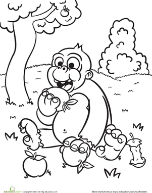 Kindergarten Coloring Worksheets: Hungry Monkey Coloring Page