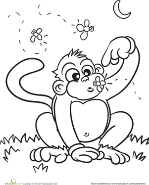 Kindergarten Coloring Worksheets: Color the Cute Monkey