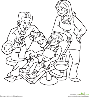 Kindergarten Coloring Worksheets: Dentist Coloring Page