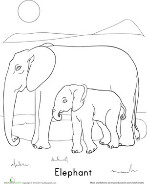 elephant family coloring page. Black Bedroom Furniture Sets. Home Design Ideas