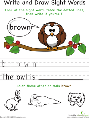 Kindergarten Reading & Writing Worksheets: Write and Draw Sight Words: Brown