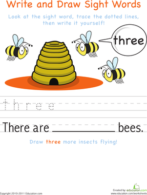 Kindergarten Reading & Writing Worksheets: Write and Draw Sight Words: Three