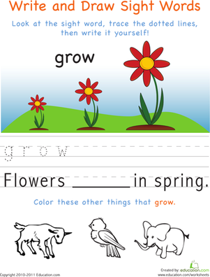 Kindergarten Reading & Writing Worksheets: Write and Draw Sight Words: Grow