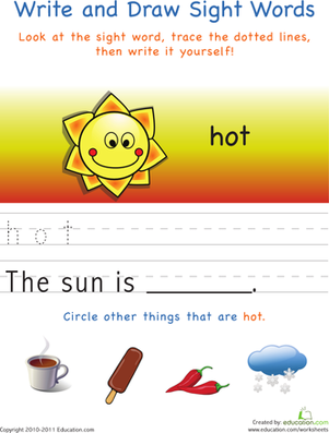 Kindergarten Reading & Writing Worksheets: Write and Draw Sight Words: Hot