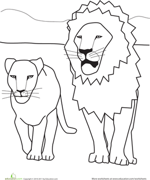 Preschool Coloring Worksheets: Color the Lions