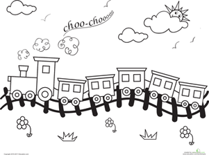 Preschool Coloring Worksheets: Choo-Choo Train Coloring Page